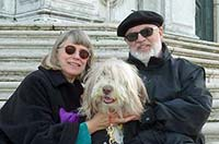 Durant and Cheryl Imboden with Maggie the Bearded Collie